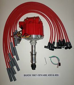SPARK PLUG WIRES BUICK 400 430 455 Big Block 1967-1976 HEI DISTRIBUTOR RED