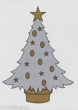 Christmas Cling On Vinyl Car Window Sticker - Silver Christmas Tree cc18