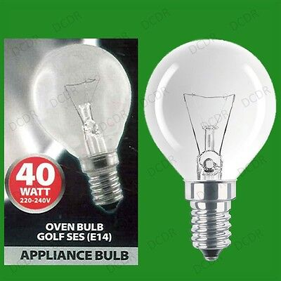 6x 40W Oven, Cooker, Golf SES Light Bulbs, E14, 300 Degree Heat Resistant Lamps