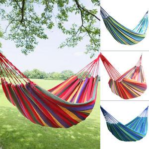 Garden-Camping-Canvas-Hammock-Lightweight-Hang-Bed-Outdoor-Travel-Tree-Swing