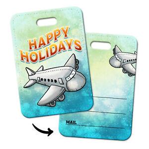 Happy-Holidays-Gepaeckanhaenger-Flugzeug-Kofferanhaenger-Flughafen-Kofferschild