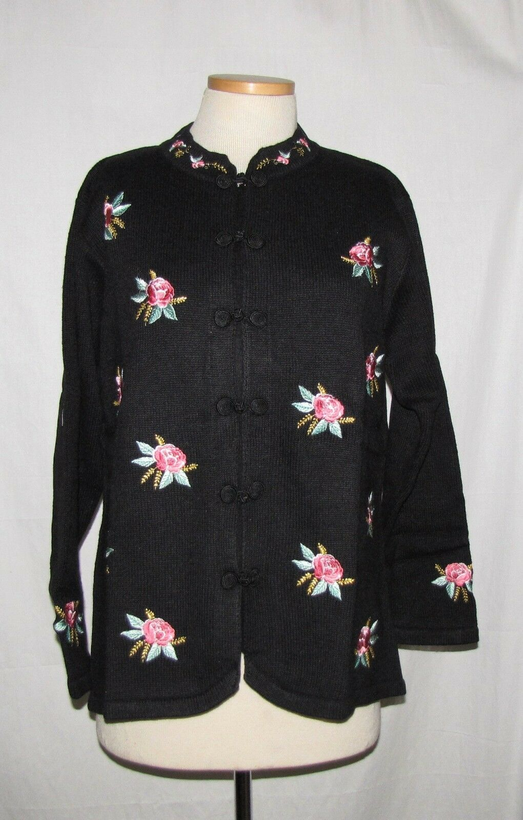 Storybook Knits  Mandarin Flowers  Blk w Embroidered Floral Design Sweater L NWT