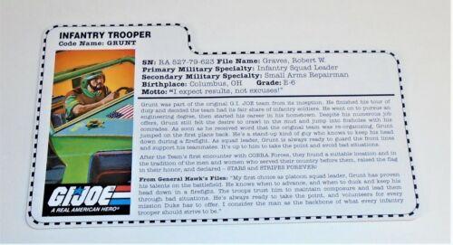 G I JOE File Card Filecard  Stars and Stripes       1997 Grunt