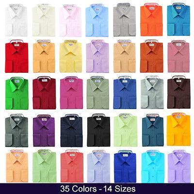 Berlioni Italy Men/'s Italian French Convertible Cuff Two Tone Dress Shirt Coral