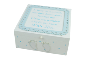 Baby Memory Box Wooden Chest Blue Born A Miracle Christening Extra Large F1718B