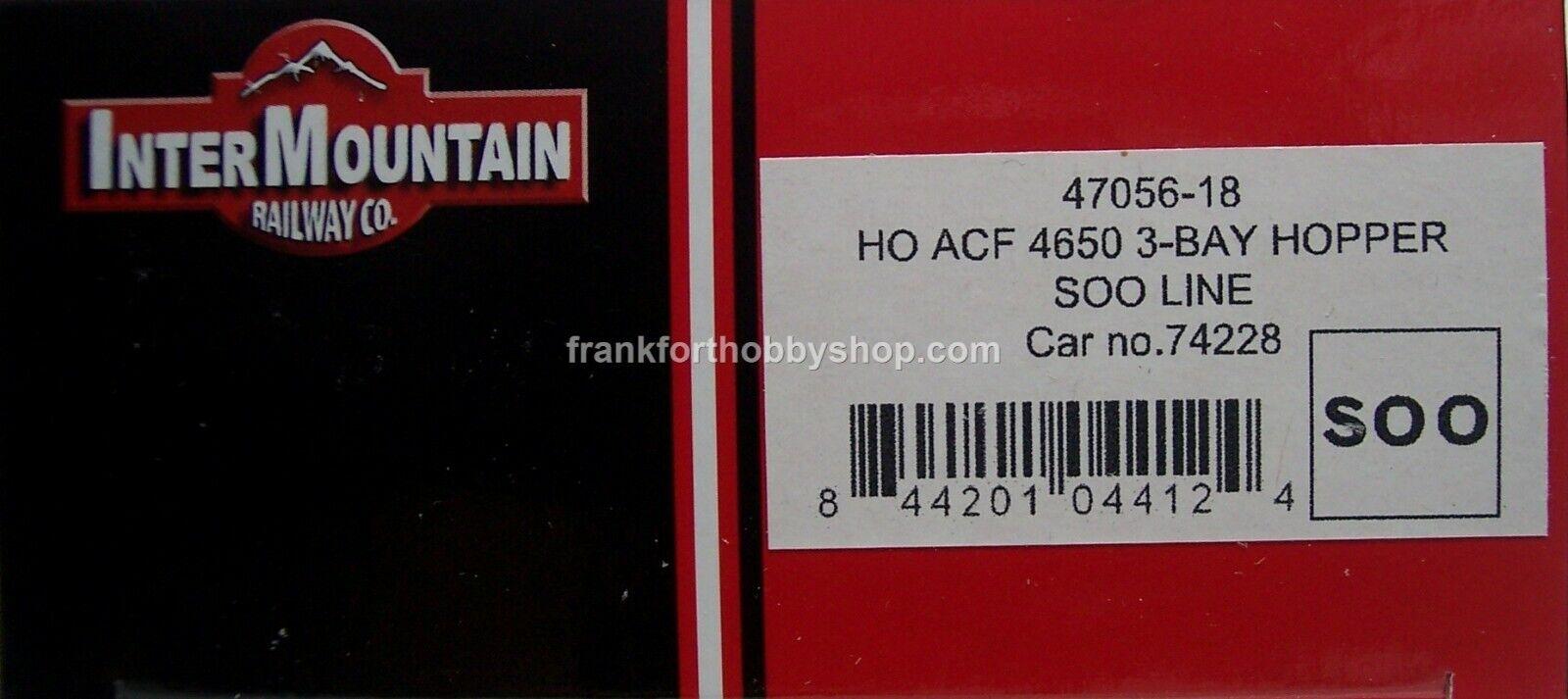 Intermountain HO ACF4650 CU. FT.3BAY Hopper Soo Line