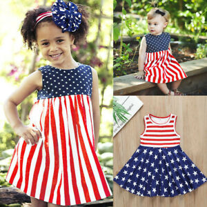 Infant-Baby-Girl-Kid-Summer-4th-of-July-Stripe-Star-Vest-Sleeveless-Dress-Outfit