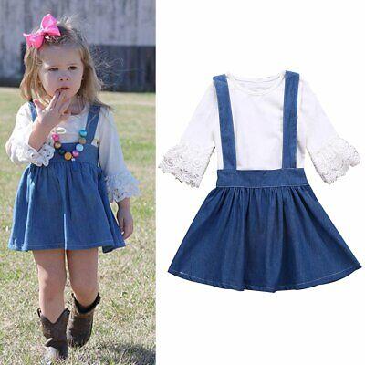 Newborn Infant Toddler Baby Girls Clothes Flare Sleeve Tops Full Flower Suspender Skirt Overall Dress