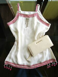Aw94 Embellished Silk Blogger Retro Vtg Ivory Top Fashion Festival 80s Womens nvqROwTgq