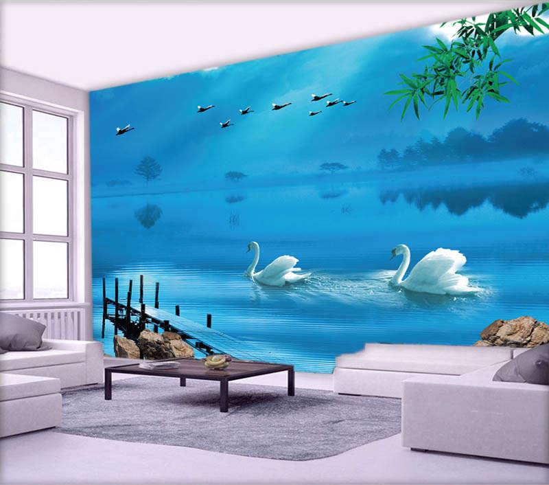 Weiß Cute Swan 3D Full Wall Mural Photo Wallpaper Printing Home Kids Decoration