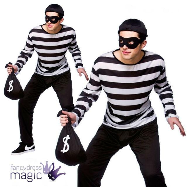 MENS BANK ROBBER CAT BURGLAR CONVICT THIEF FANCY DRESS COSTUME MASK SWAG BAG LOT