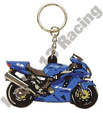 Kawsaki ZX 12 R rubber key ring motor bike cycle gift keyring chain blue ZX12R