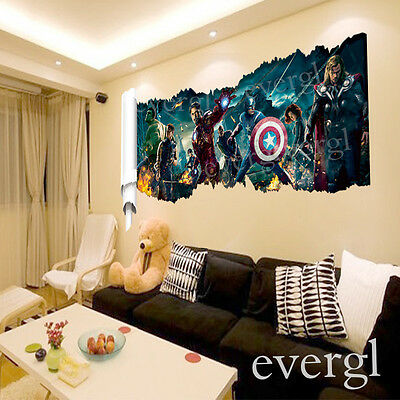Movie The Avengers Removable Vinyl Wall Sticker Decals Kids Nursery Room UKWS