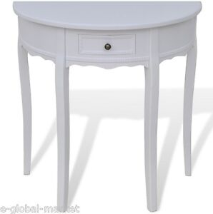 wooden half moon round hall table side console shabby chic hallway drawer white ebay. Black Bedroom Furniture Sets. Home Design Ideas