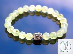 Buddha-Prehnite-Natural-Gemstone-Bracelet-6-9-039-039-Elasticated-Healing-Stone-Chakra
