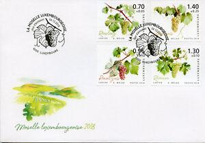 Lussemburgo-2018-FDC-Moselle-Valley-uve-da-vino-Riesling-4v-copertura-piante-FRANCOBOLLI