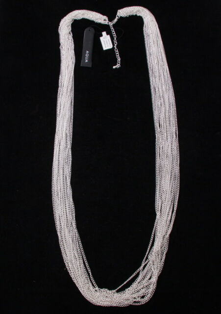 "Aqua - Silver Tone Multi Row Chain Gorgeous Sexy Fashion 36"" Long Cute Necklace"