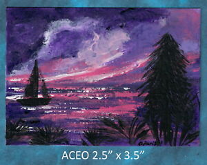 Original-ACEO-Seascape-at-Sunset-Abstract-miniature-acrylic-painting