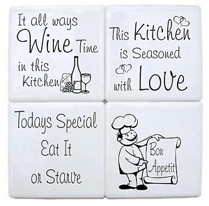Kitchen Tile Transfer Pack of 4 Fun Quotes Ceramic Tile Stickers ...
