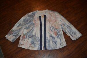 2 Nwt Sleeve Jacket Chico's Texture Watercolor E22 3 4 Print Size qvTSxw74