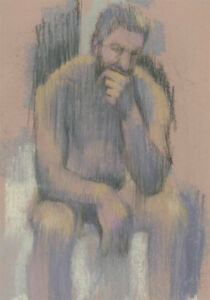 Contemporary Pastel - Male Nude in Thought