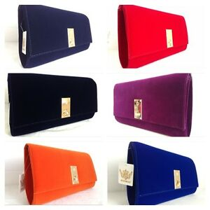 official store enjoy best price deft design Details about NEW ROYAL BLUE NUDE RED FUCHSIA PURPLE NAVY BLUE ORANGE FAUX  SUEDE CLUTCH BAG