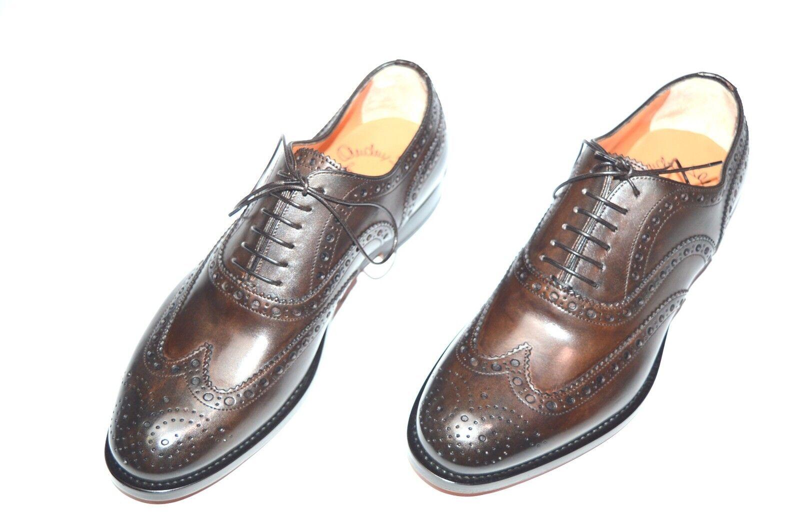 NEW SANTONI Dress Black Leather shoes  SIZE Eu 40.5 Uk 6.5 Us 7.5 (22R)