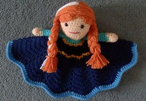 """Hand Crocheted Princess Frozen like Anna Lovey Baby Blanket Doll *NEW* 14"""""""