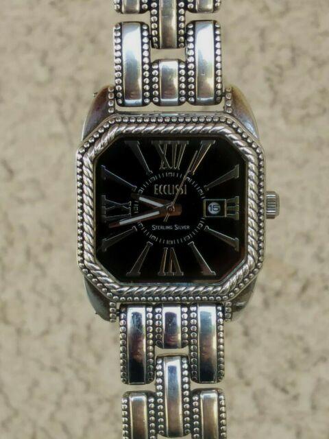 Ecclissi Solid Sterling Silver Bracelet Watch Date Window 7