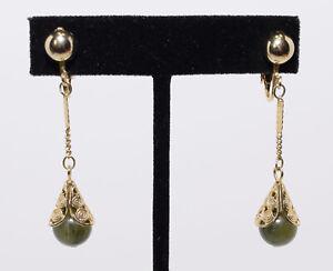 Gold Tone Dangle Drop Faux Jade Clip On Earrings Vintage Estate Costume Jewelry