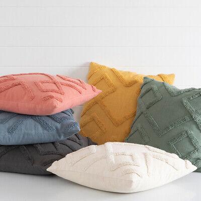 PAIR NEW Large MILKY WHITE /& CREAM PETITE DIAMOND Cushion covers with Rope Trim