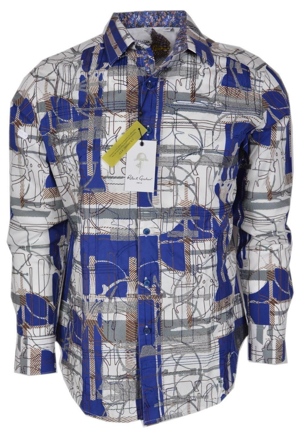 NEW Robert Graham  ORWELL Geometric Print Classic Fit Sports Dress Shirt