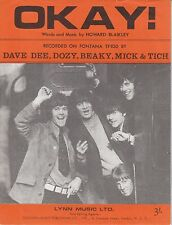Okay! - Dave Dee, Dozy, Beaky, Mick & Tich - 1967 Sheet Music