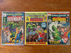 MARVEL-FEATURE-1-amp-2-amp-3-8-0-VF-Condition-1st-App-Origin-The-Defenders