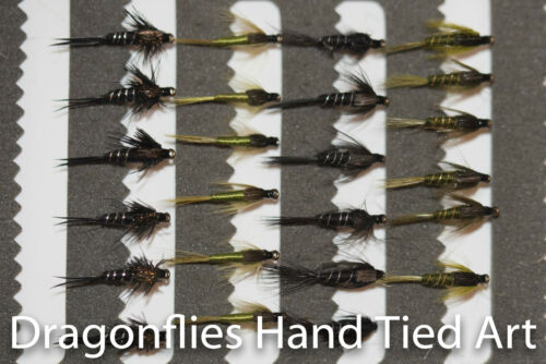 24  Olive, Black & Black Stonefly Nymphs Trout Fly Fishing Flies-Dragonflies