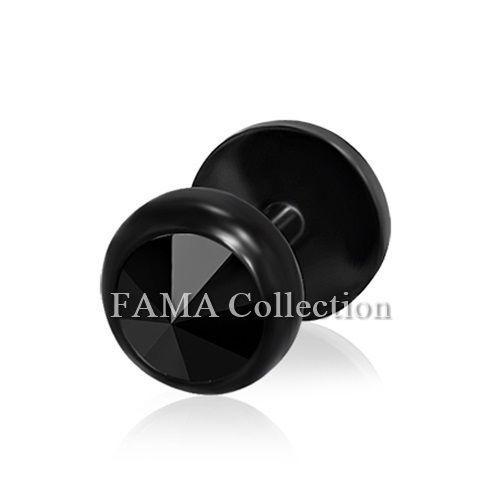 Top Quality FAMA 6mm Stainless Steel SINGLE Fake Ear Plug w// Jet Black CZ Stone