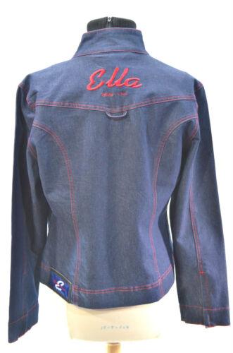 Ella Zip Blue Guess Stretch Sz L Esco Willie Jean geborduurde jas jas Denim kXuOPZTi