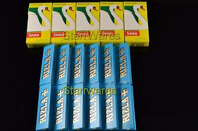 600 SWAN EXTRA SLIM FILTER TIPS and 600 RIZLA BLUE ROLLING PAPERS