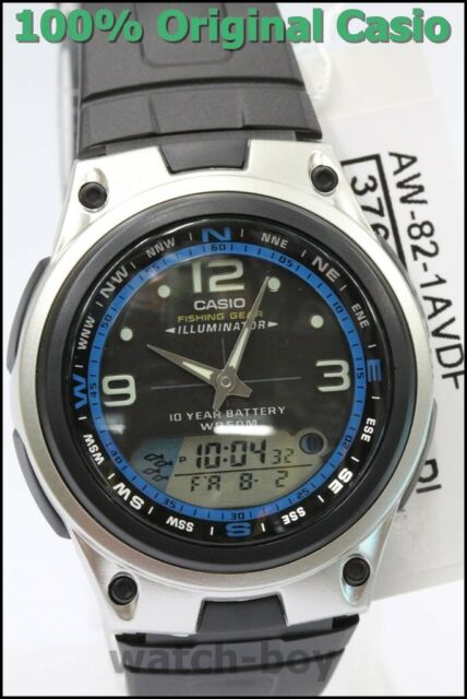 AW-82-1A 10-Year Battery Men Casio Watch Fishing Gear Black Blue Moon Phase New