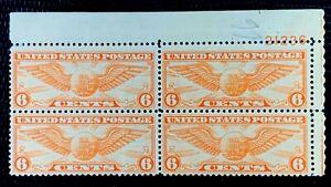 1934-US-Airmail-SC-C19-6c-Winged-Globe-Plate-Block-of-4-MNH-OG