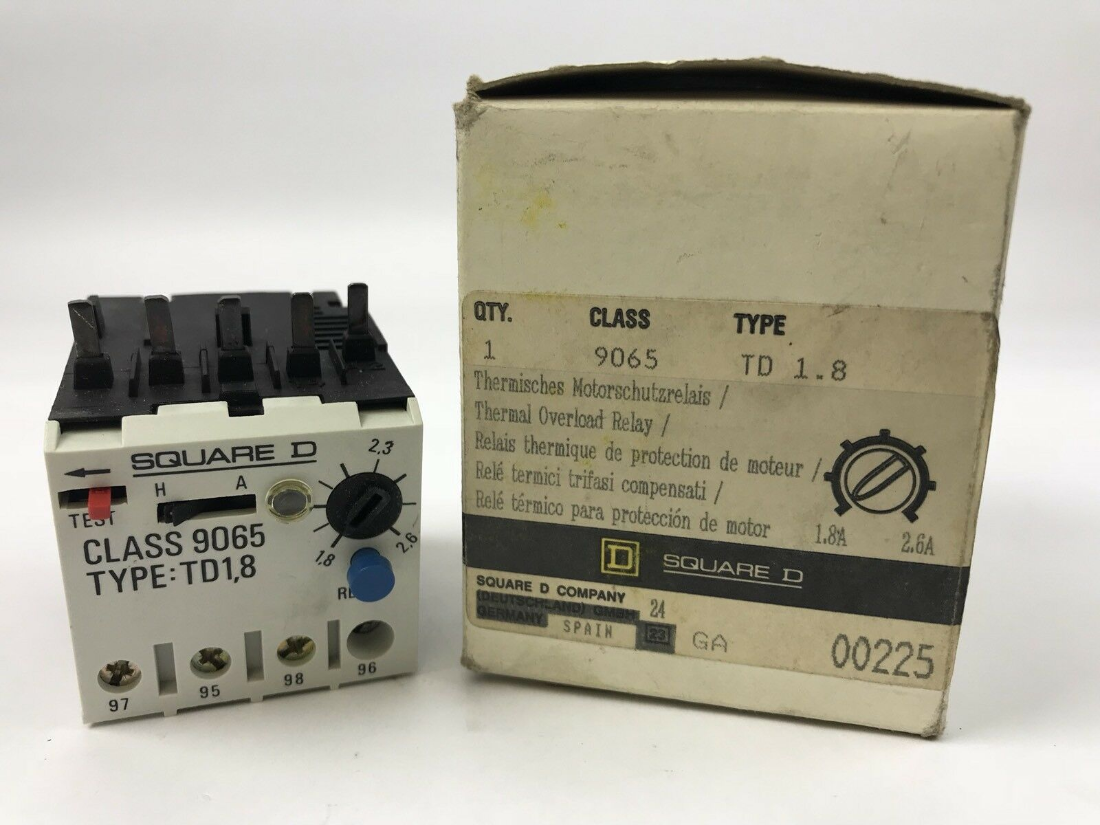 Square D 9065 TD 1.8 New In Original Box Thermal Overload Relay 1.8A-2.6A