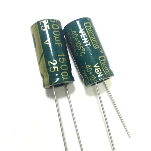 20PCS 25V 1500uF 25Volt 1500MFD Electrolytic Capacitor 10×20