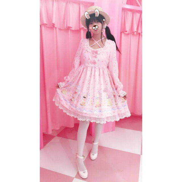 Women's Lolita Sweet Cake with Rabbit Print Dress Long Sleeve Cute 3 Colors LZ