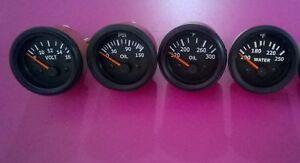 Gauges-Set-4-pc-Oil-Pressure-Temperature-Oil-Temp-Volt-Gauge-2-034-Elec