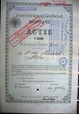 Feuer - Versicherung Ges. Rheinland Neuss Gründeraktie 1880 Werhahn Thywissen