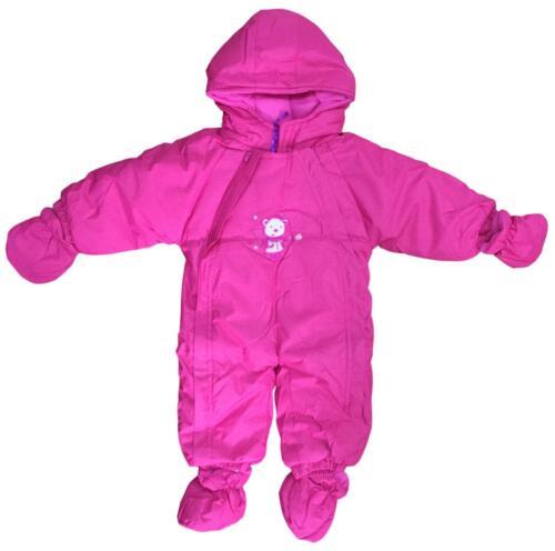 BABY GIRLS SNOWSUIT FLEECE LINED DETACHABLE MITTENS /& MUFFS 3-18M 4 COLOURS BNWT