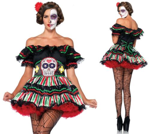 Adult Day of The Dead Doll Plus Size Halloween Fancy Dress Costume ...