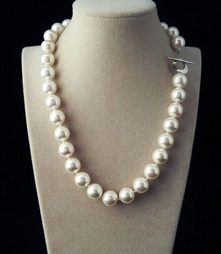 """White south sea shell pearl necklace 18/"""" Natural Fashion 12mm AAA"""