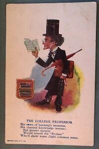Antique-Comic-Postcard-The-College-Professor-with-Book-Briefcase-Umbrella-c409