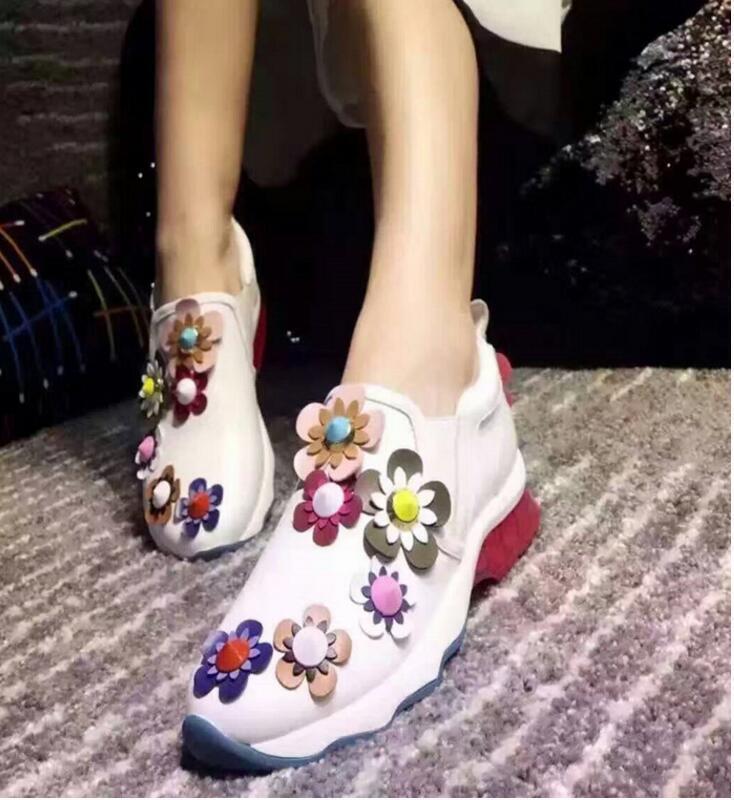 Vogue Women's Rhinestones Floral Sport Slip On Leather Shoes Comfort New Elegant